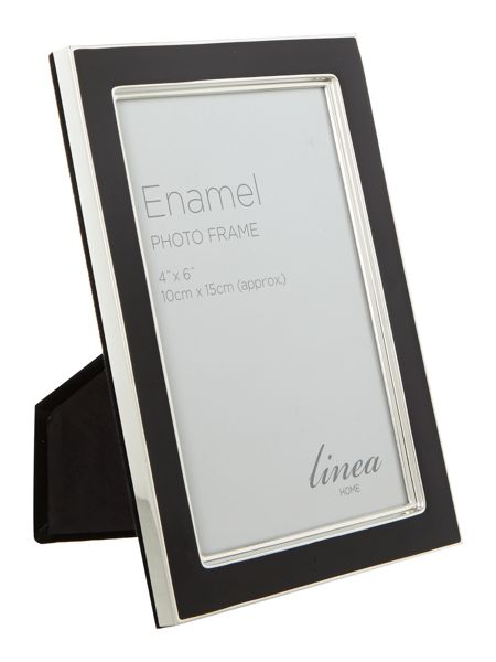 Linea Black enamel photo frame, 4 x 6