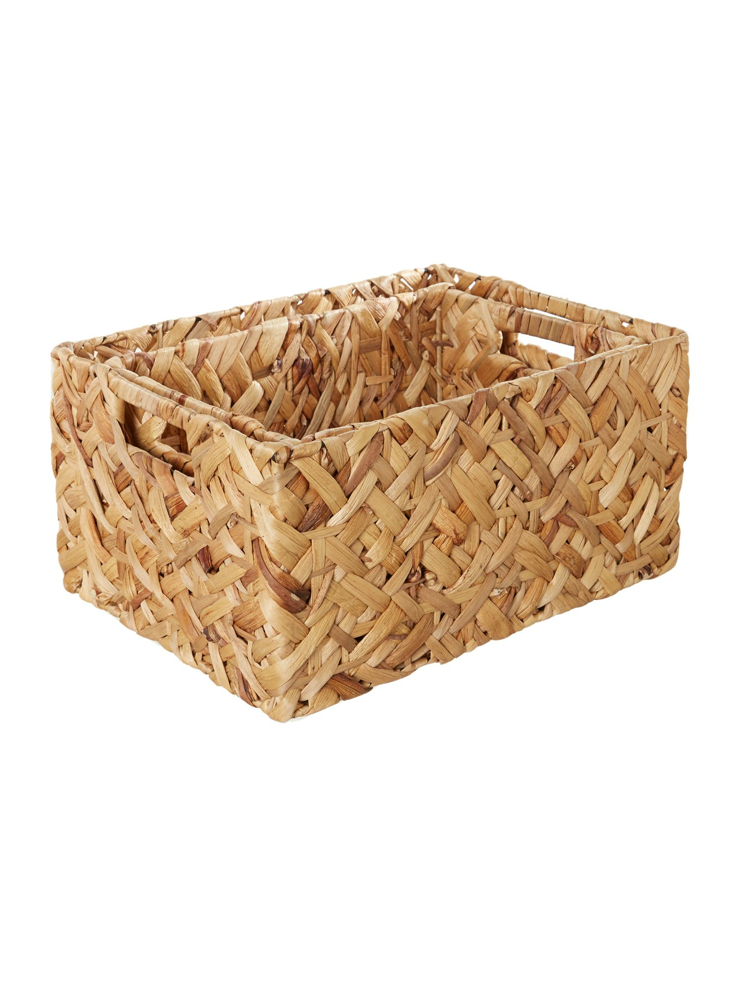 Set of 2 natural water hyacinth baskets