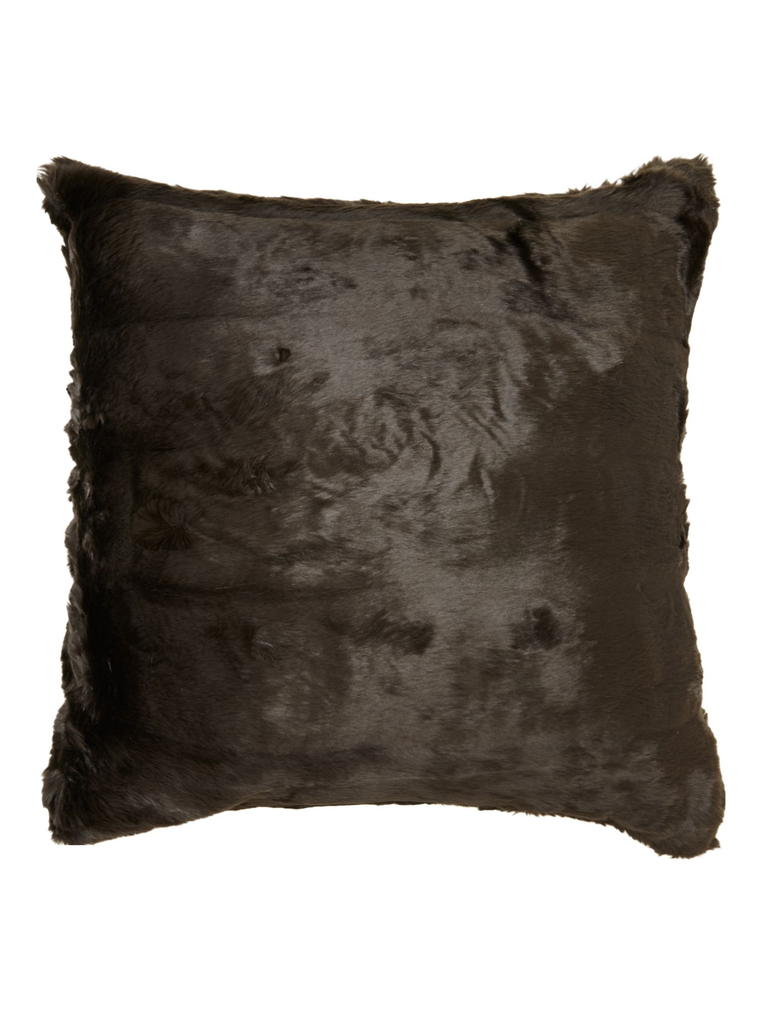 Black faux fur cushion