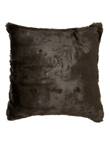 Chocolate brown faux fur cushion