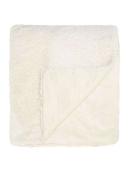 Linea Cream faux fur throw