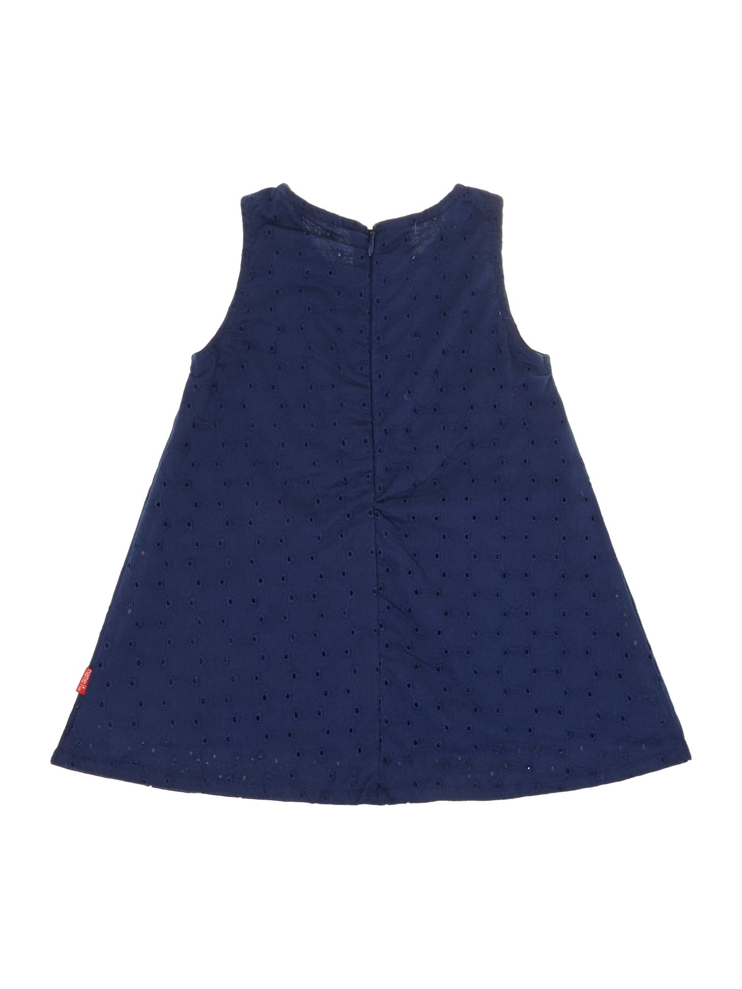 Girls pleated neckline smock dress