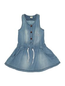 Girls denim dress with gathered waist and pockets