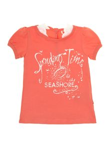 Girls puff sleeve t-shirt with seaside slogan