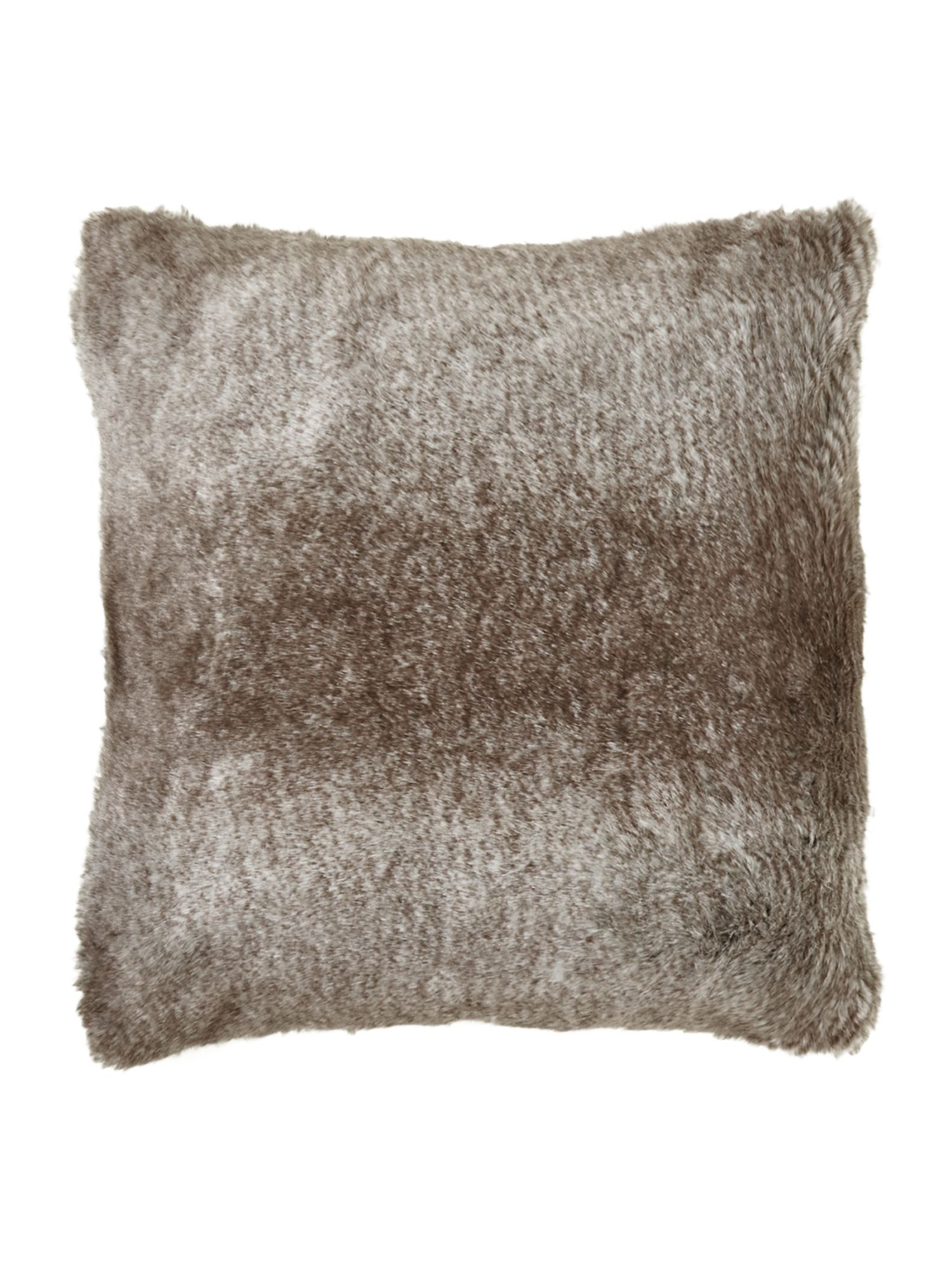 Striped faux fur cushion