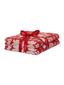 Scandi red pack of 2 hand towels