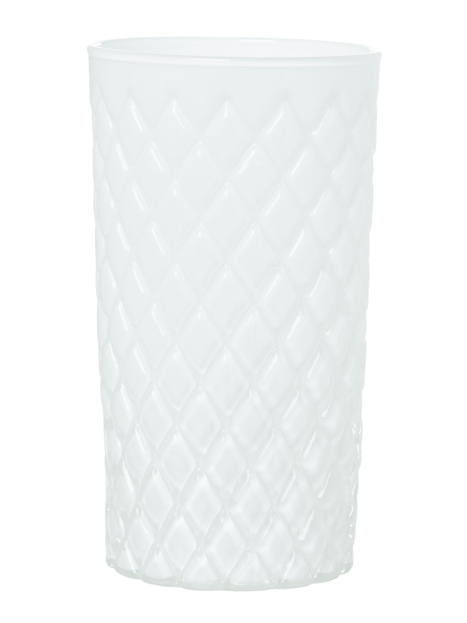 White diamond cut vase, small
