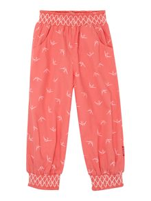 Girls bird print smocked cuff trousers
