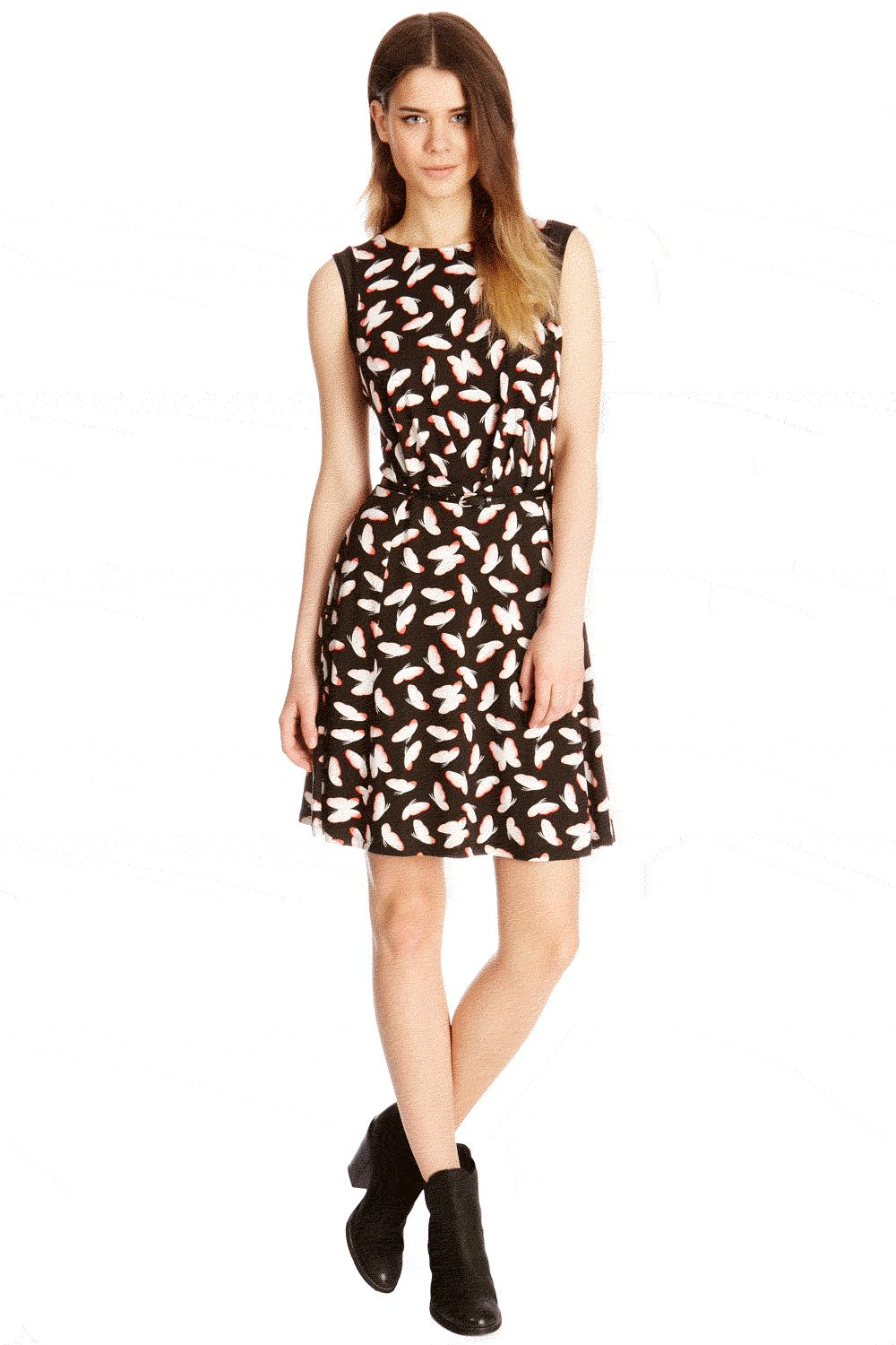Deco butterfly skater dress