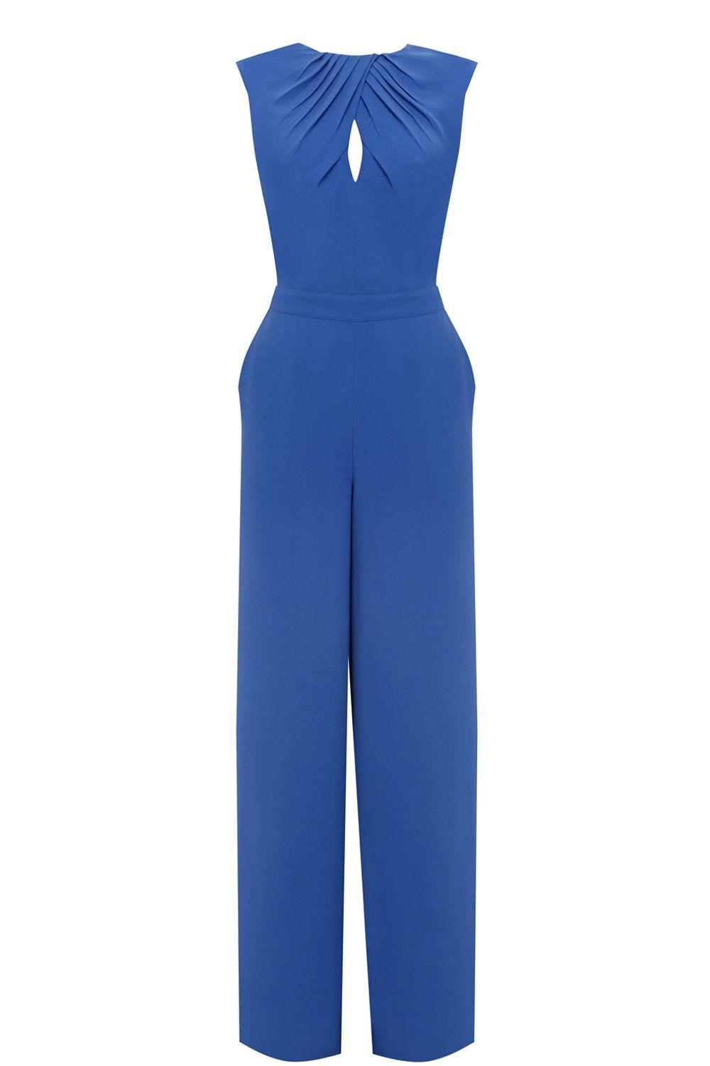Wide leg tuck neck jumpsuit