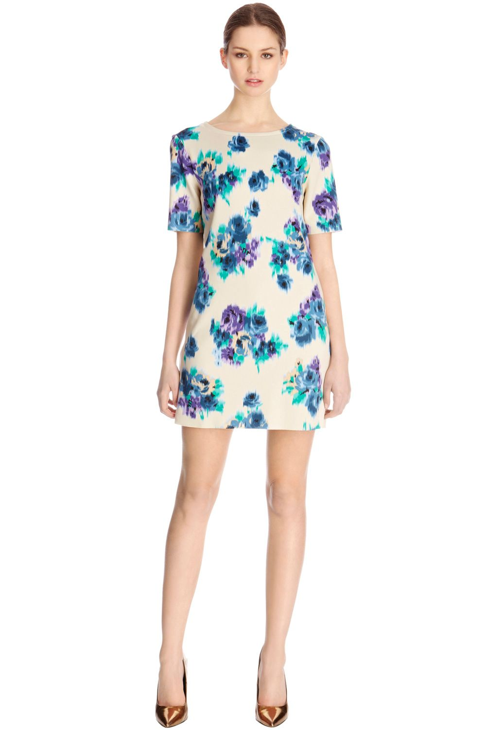 Blurred floral premium t-shirt dress