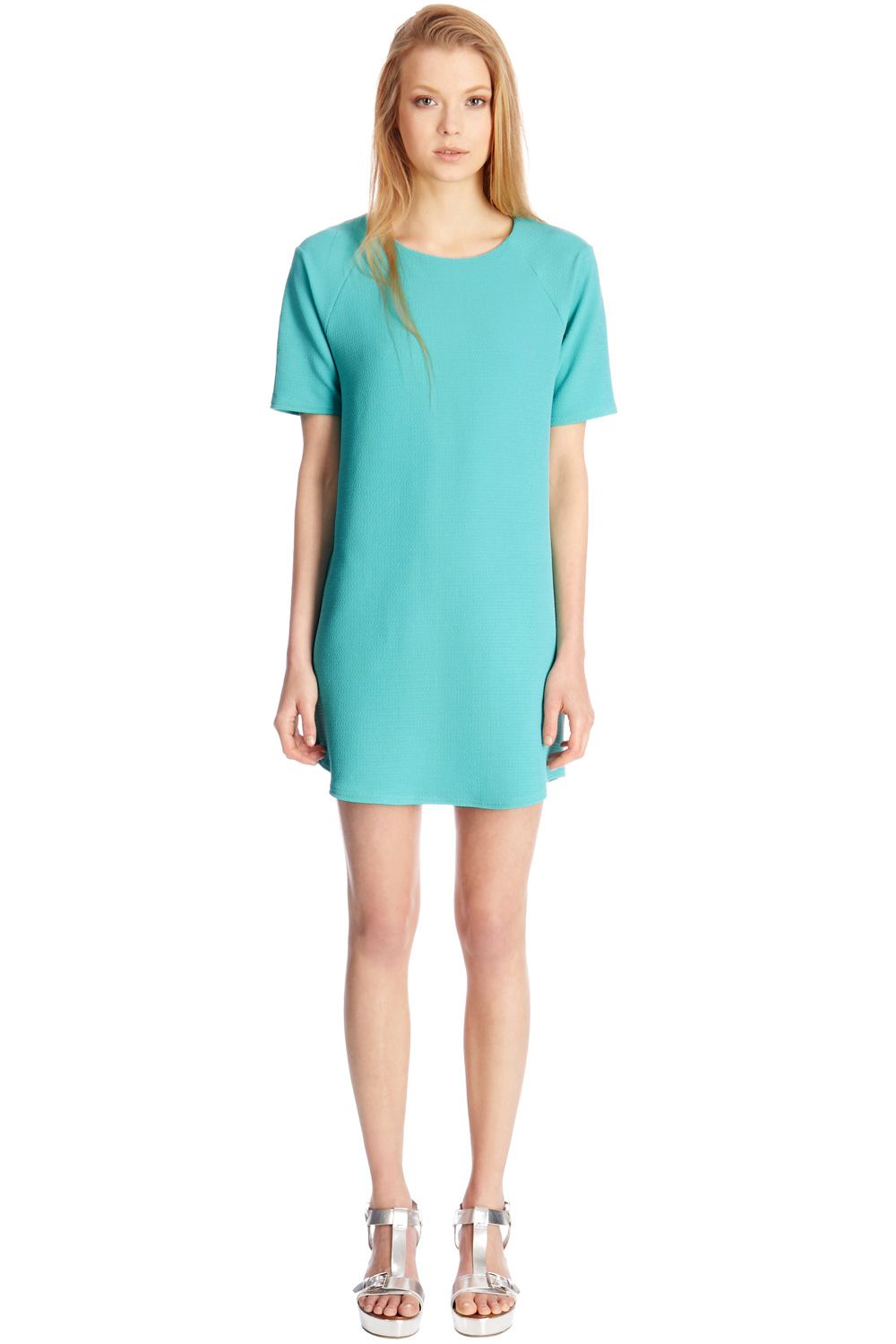 Textured crepe shift dress