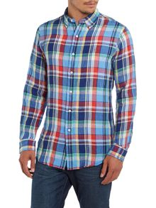 Long sleeve checked linen shirt