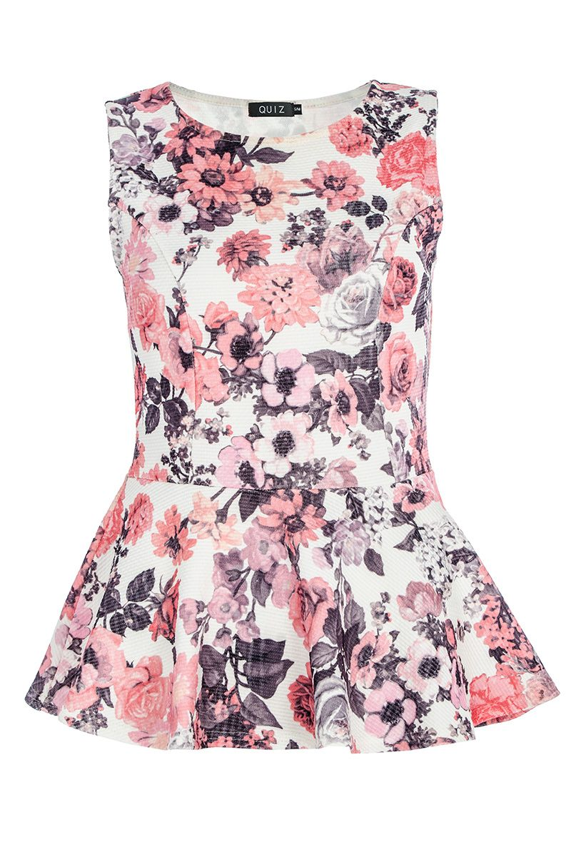 Textured flower print peplum top