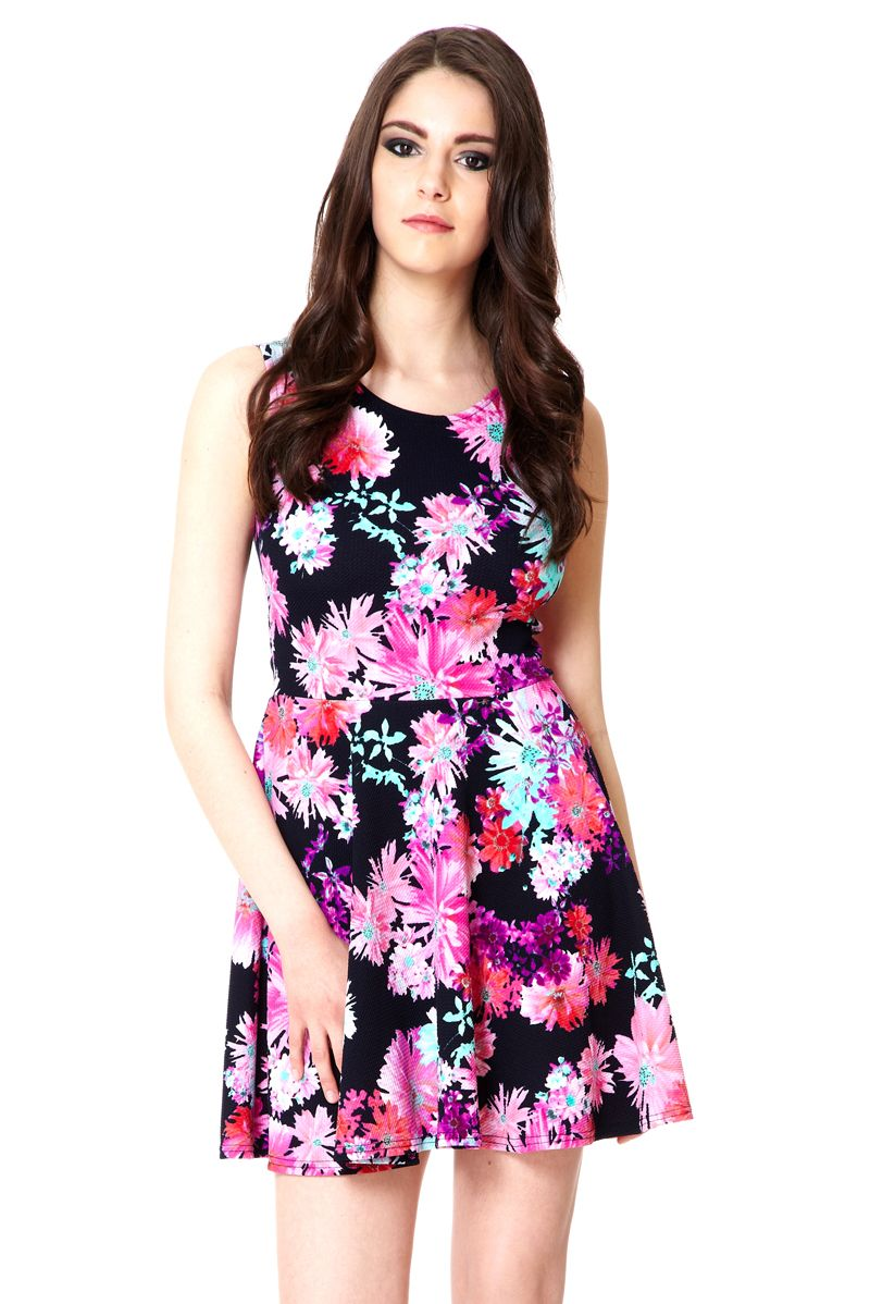 Textured flower print skater dress