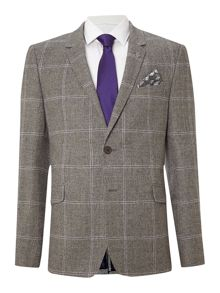 Basqat debonair slim fit check suit jacket