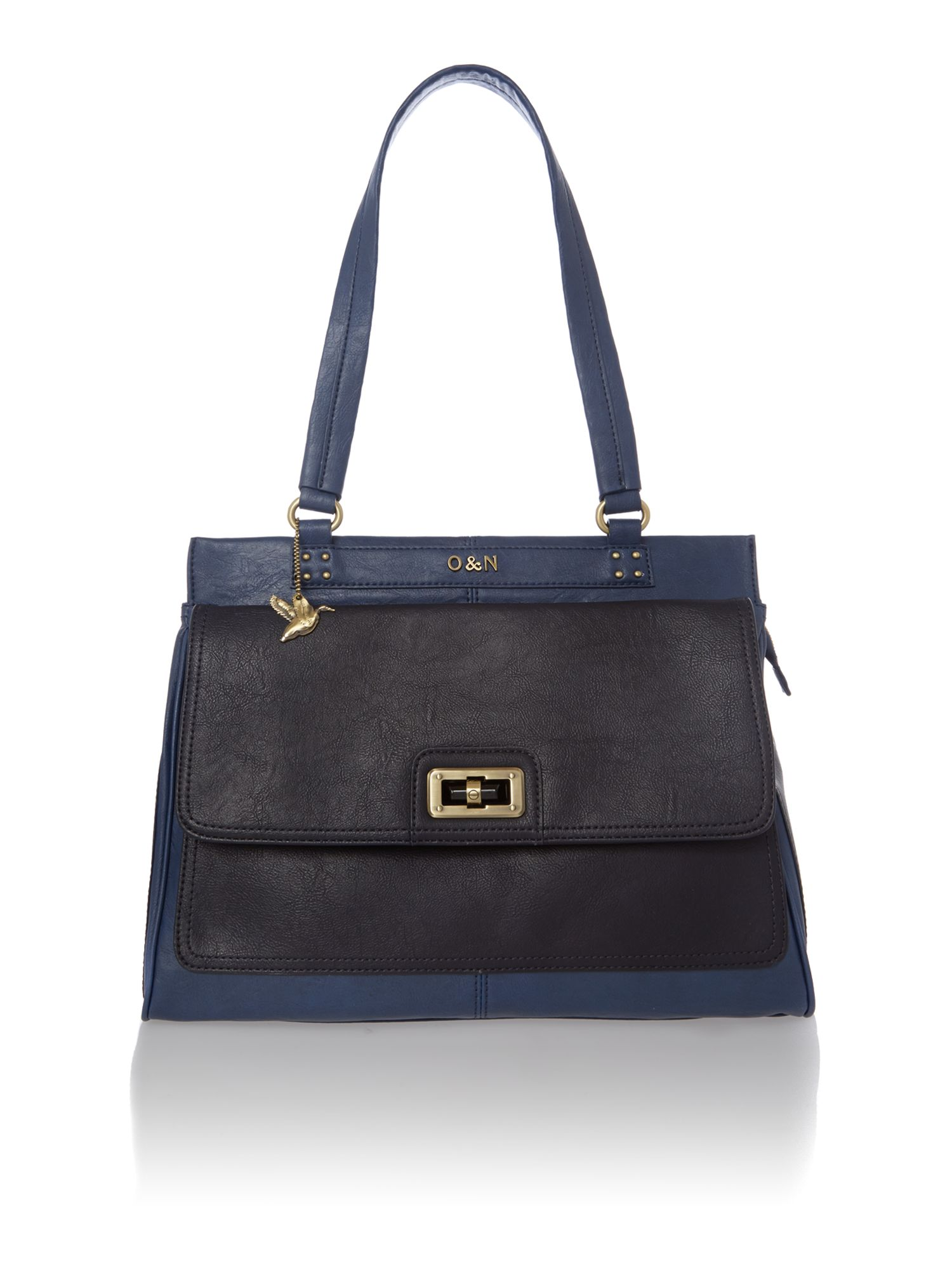 Lenny navy large tote bag