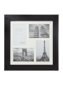 Black wood 4 aperture photo frame