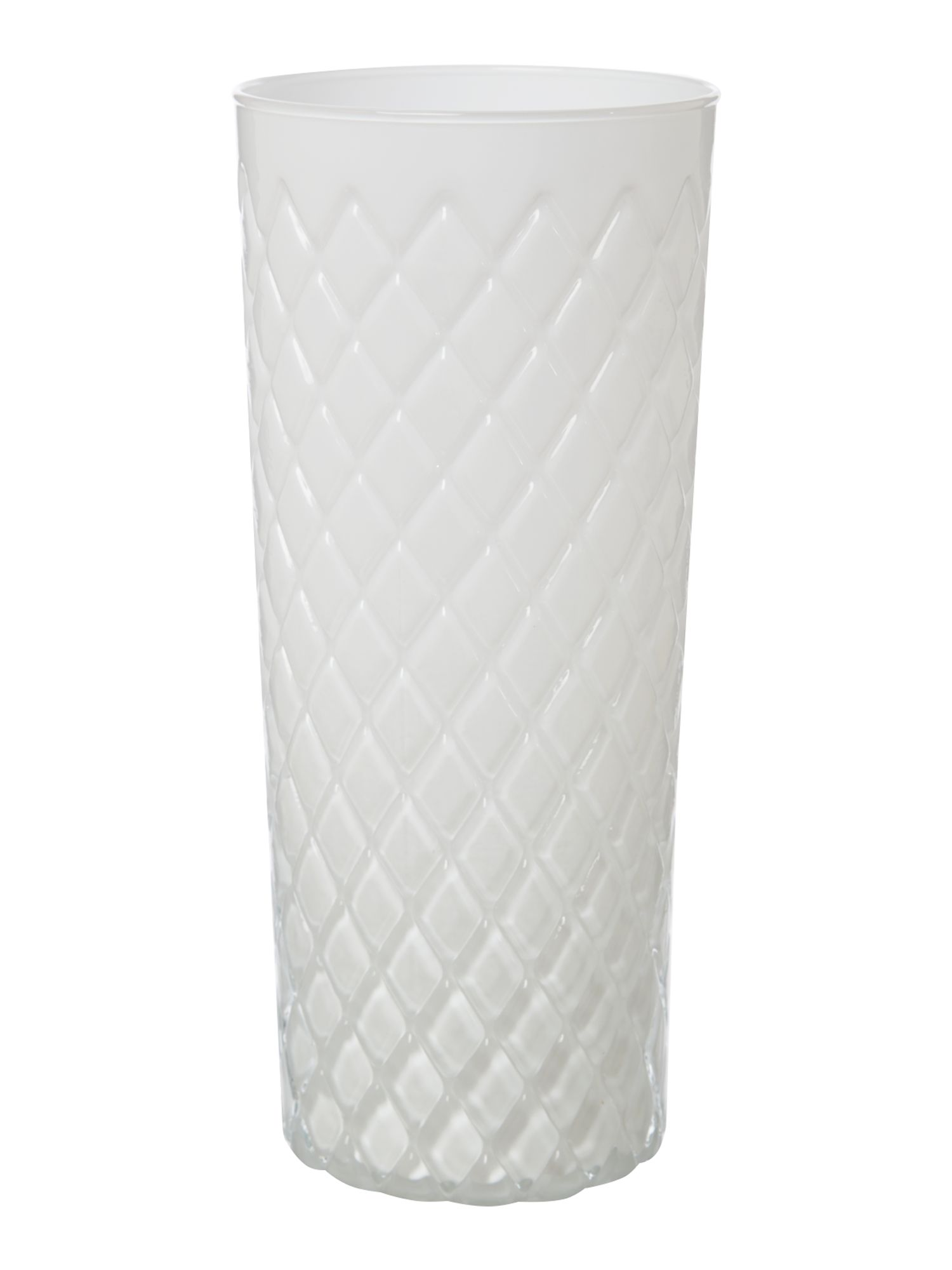 White diamond cut vase, large
