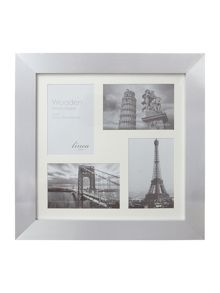 Silver wood 4 aperture photo frame