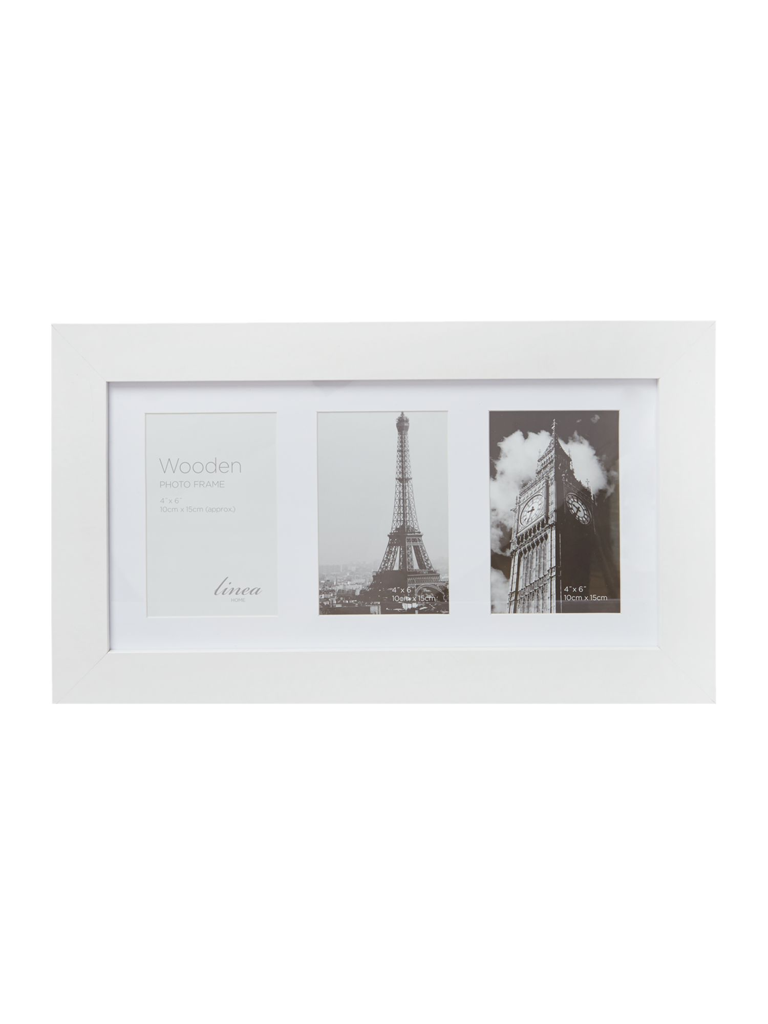 White wood 3 aperture photo frame