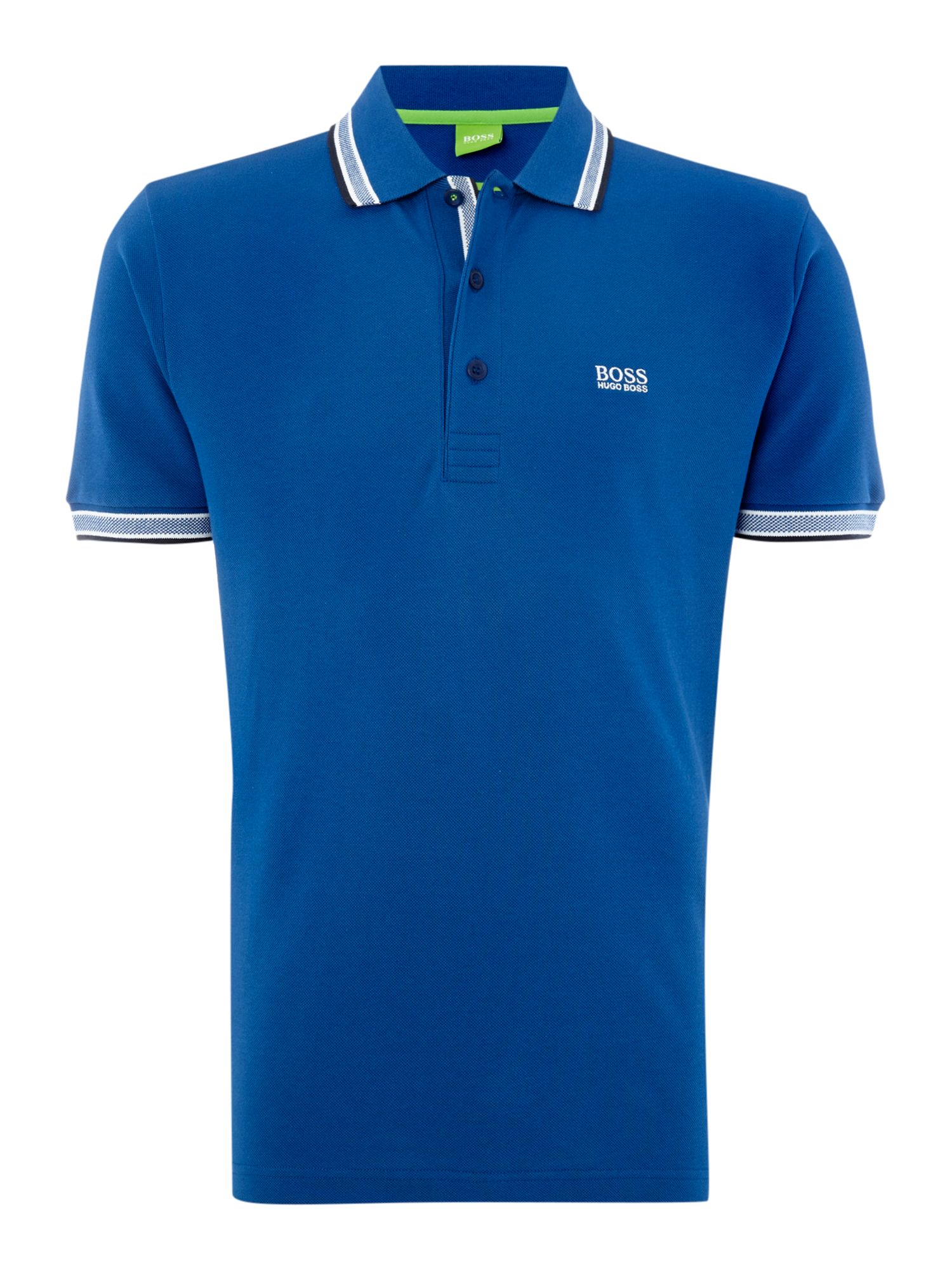 Men's Hugo Boss Paddy Regular Fit Tipped Logo Polo Shirt, Mid Blue