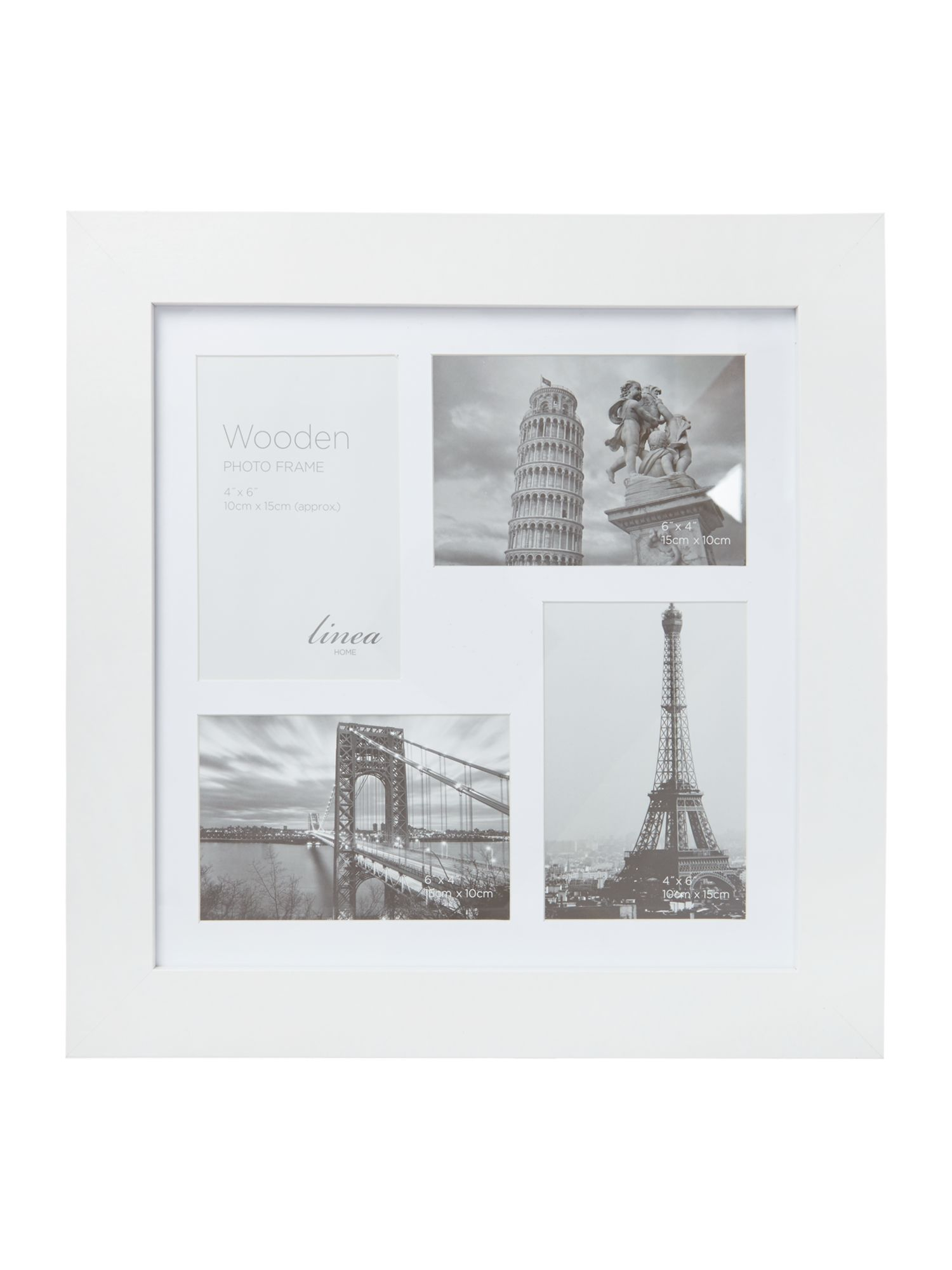 White wood 4 aperture photo frame