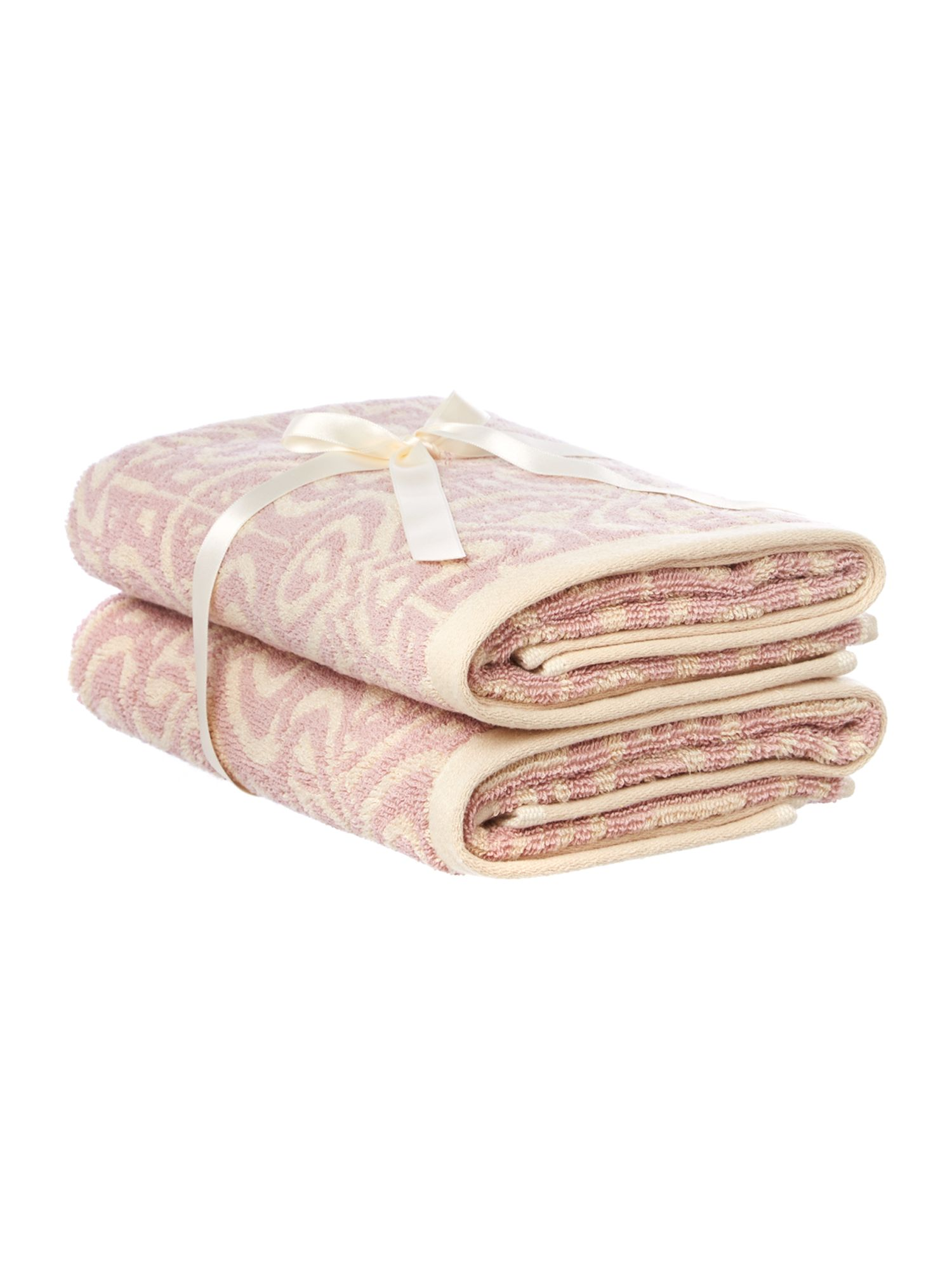 Blush jacquard pack of 2 hand towels