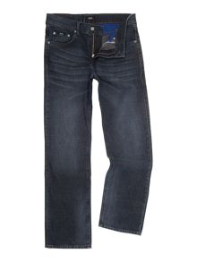 Maine deep dark mid wash straight leg jean