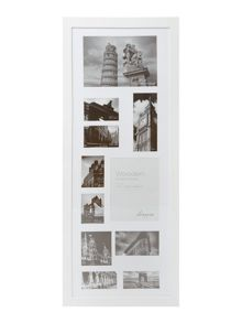 White wood 11 aperture photo frame