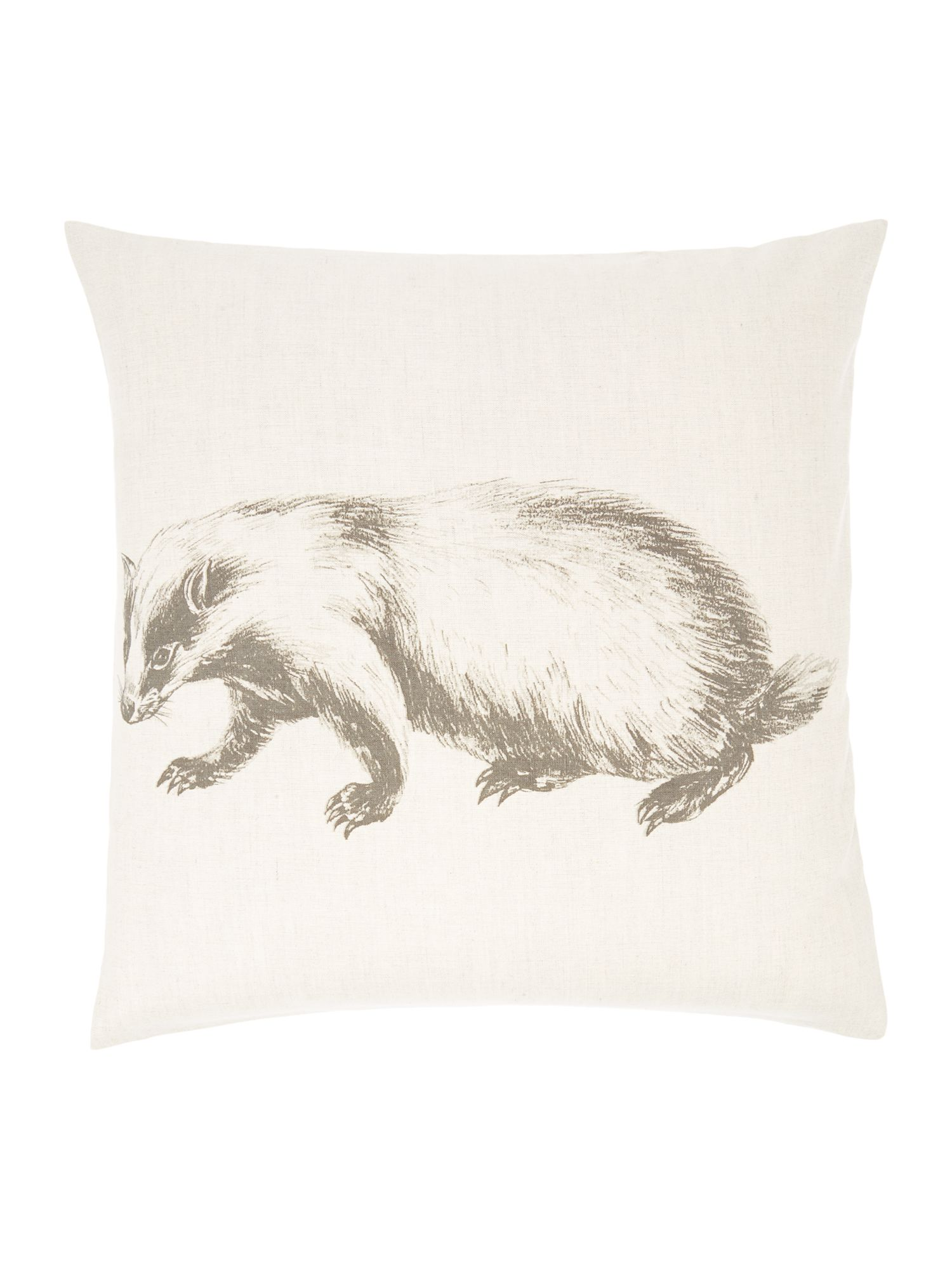 Badger pencil drawing print cushion