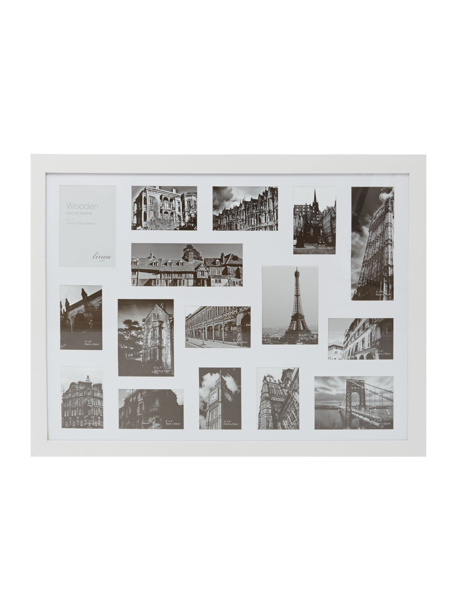 White wood 16 aperture photo frame