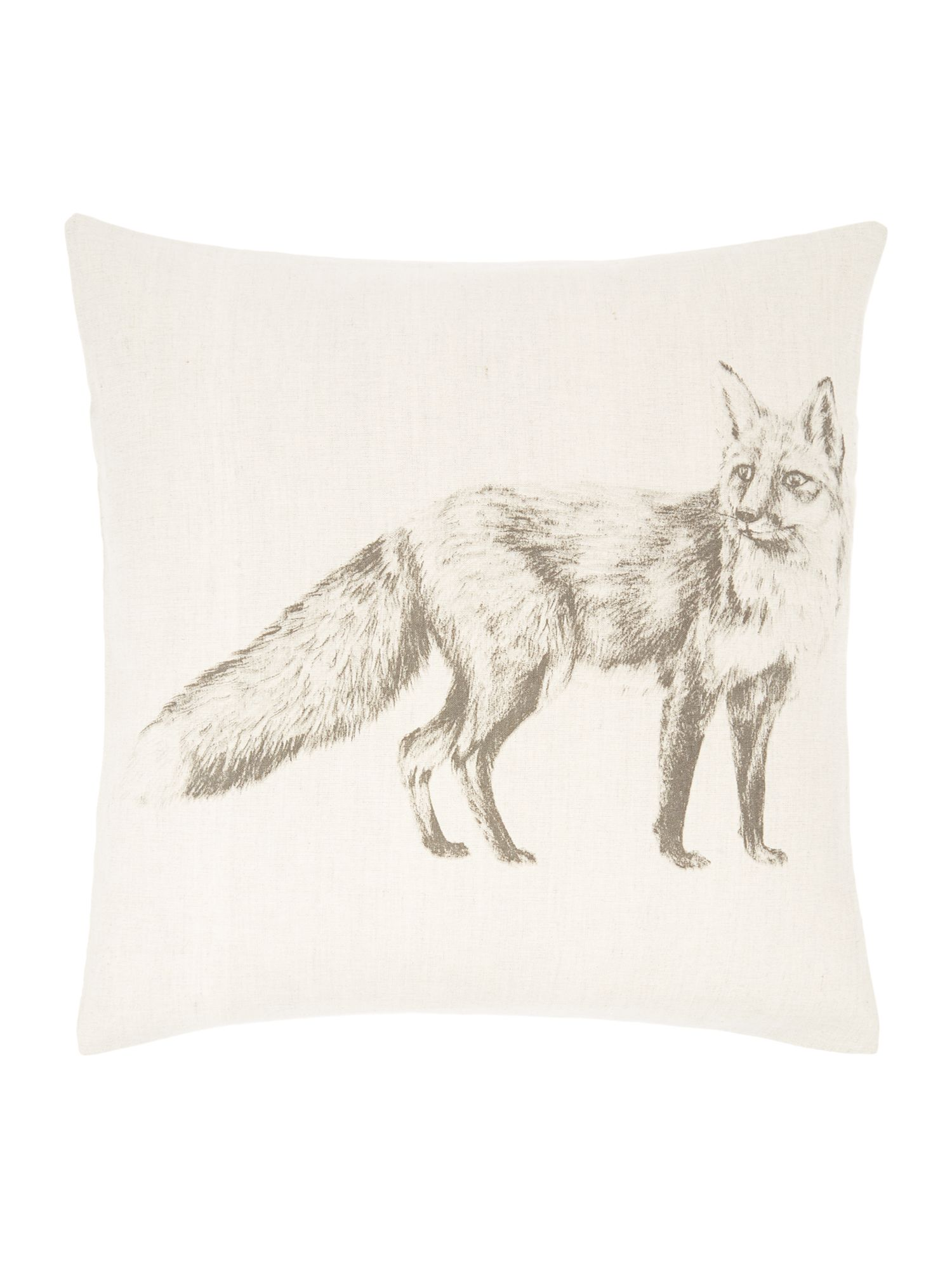Fox pencil drawing print cushion