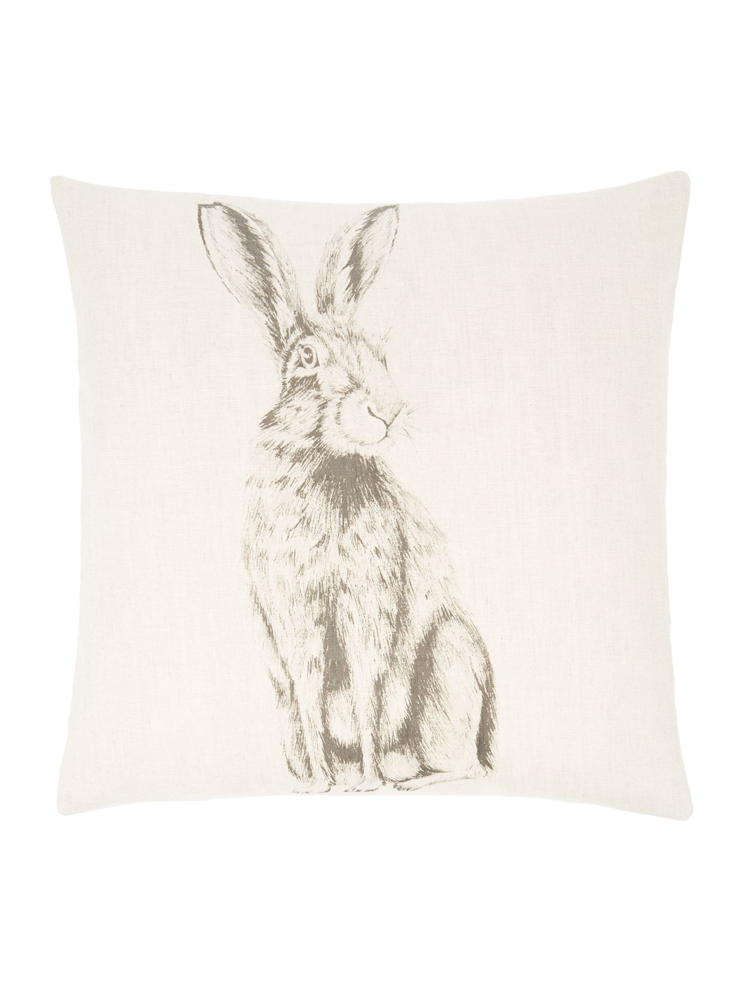 Rabbit pencil drawing print cushion