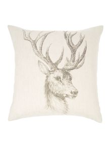 Stag pencil drawing print cushion