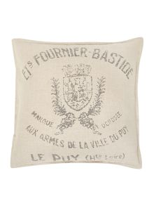 Linea French print linen cushion, cream