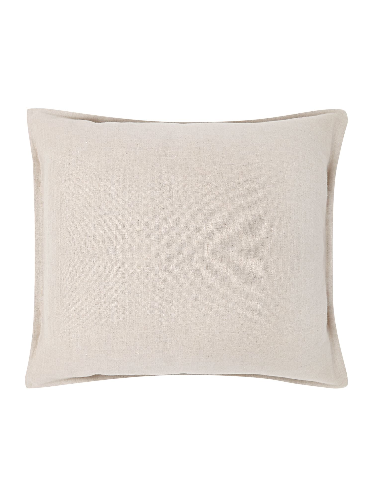 French print linen cushion, cream