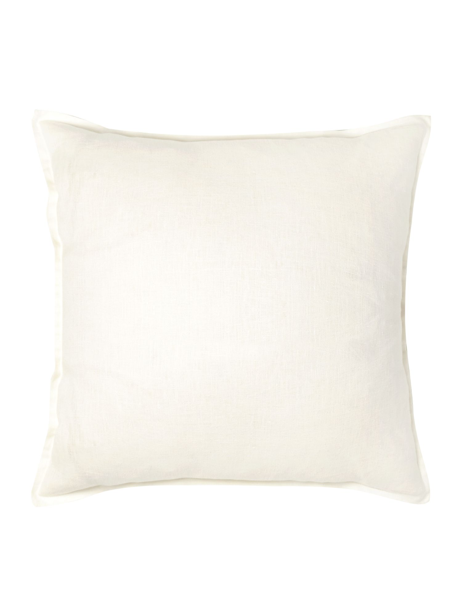 French print linen cushion, white