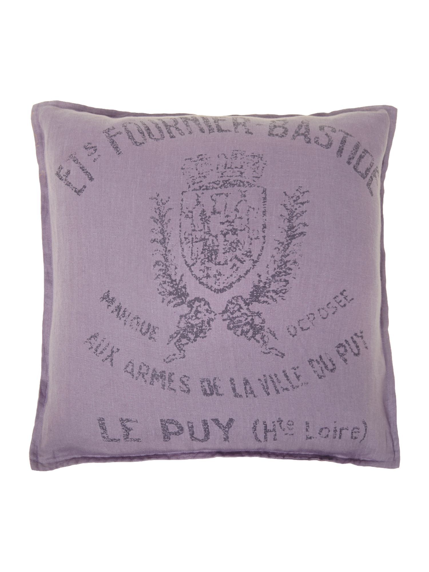 French print linen cushion, lilac