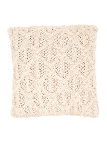 Cable knit cushion, cream