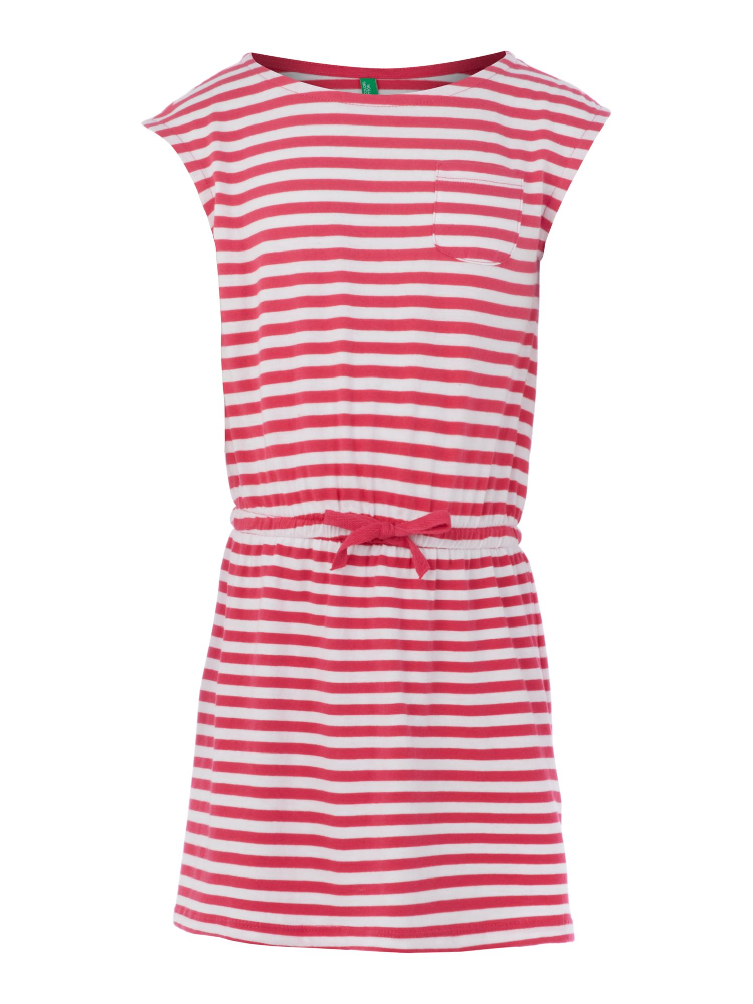 Girls drawstring stripe dress