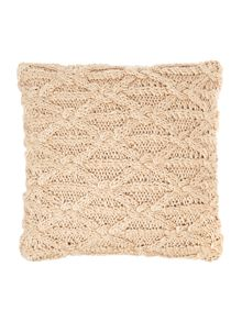 Cable knit cushion, latte