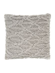 Cable knit cushion, grey