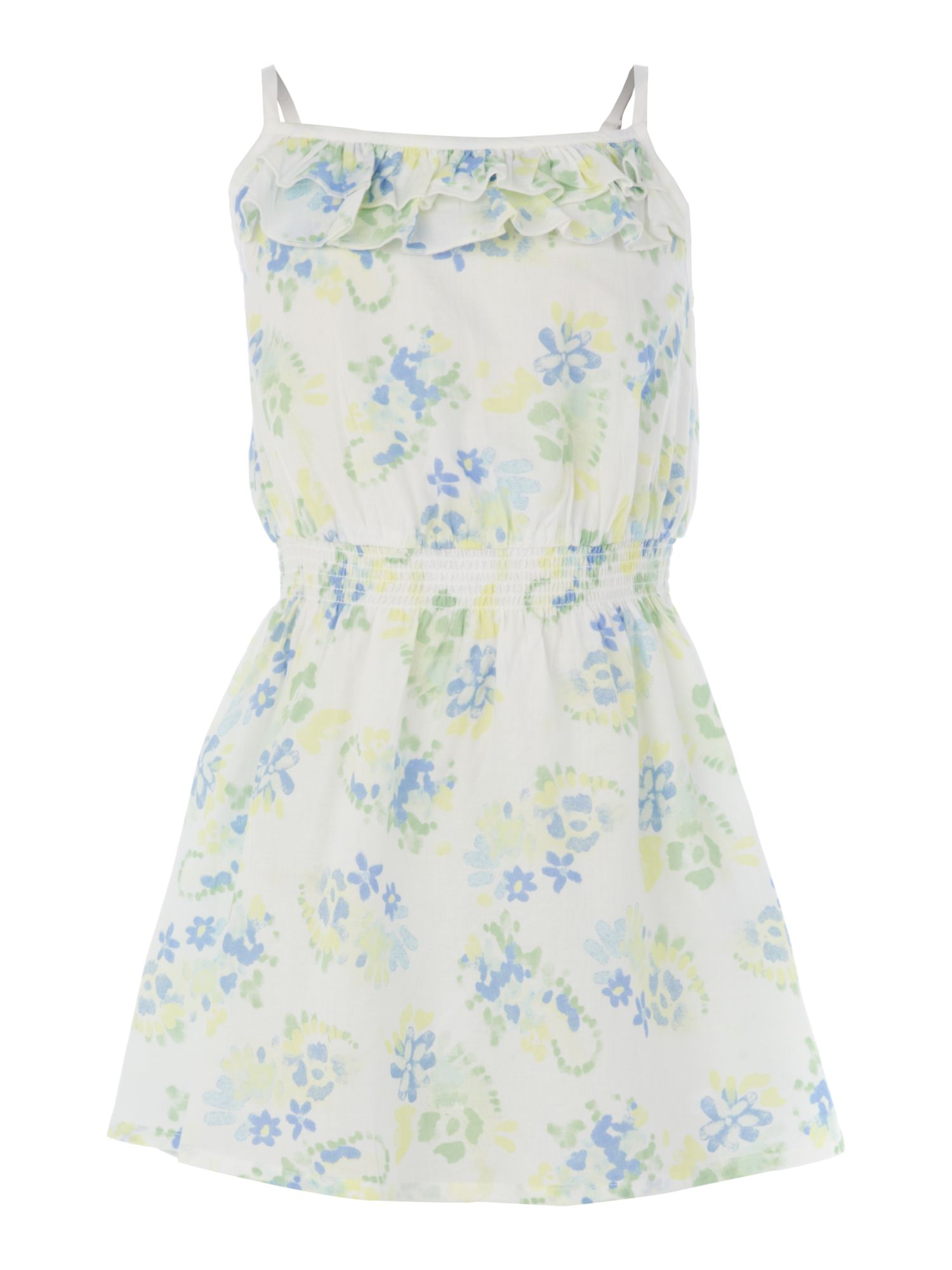 Girls ruched waist floral dress