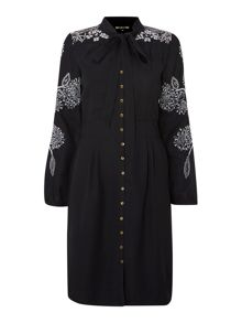 Embroidered pussy bow shirt dress
