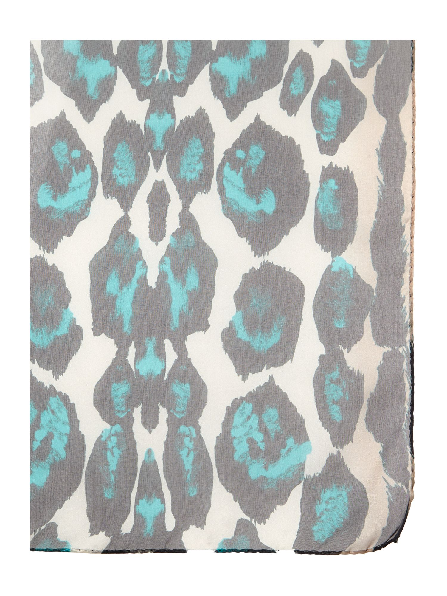 Stretched animal print silk square scarf
