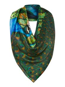 Peacock reflection silk square scarf