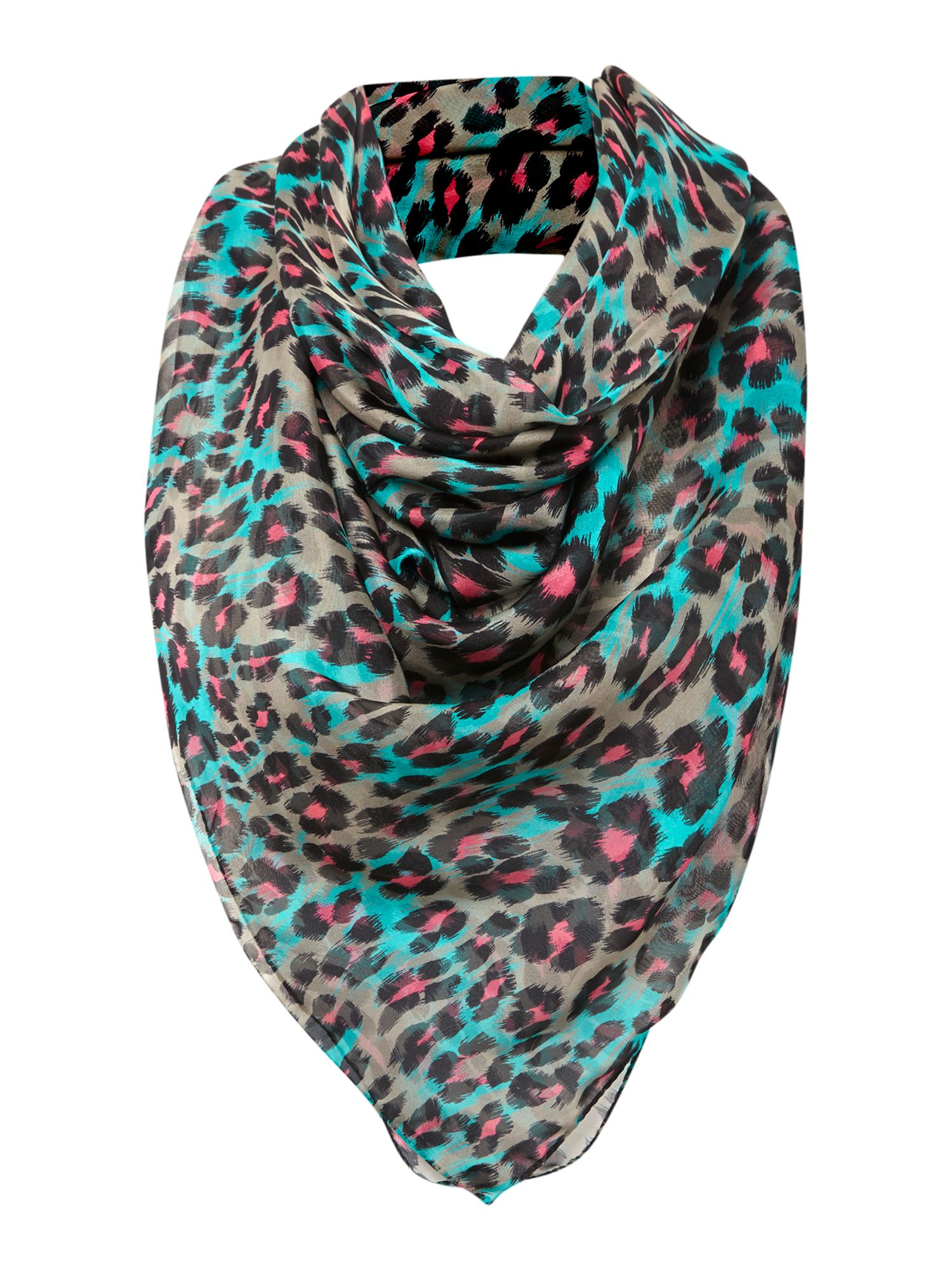 Animal print silk square scarf