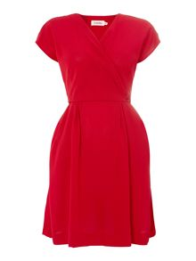 V Front Cap Sleeve Casual Dress