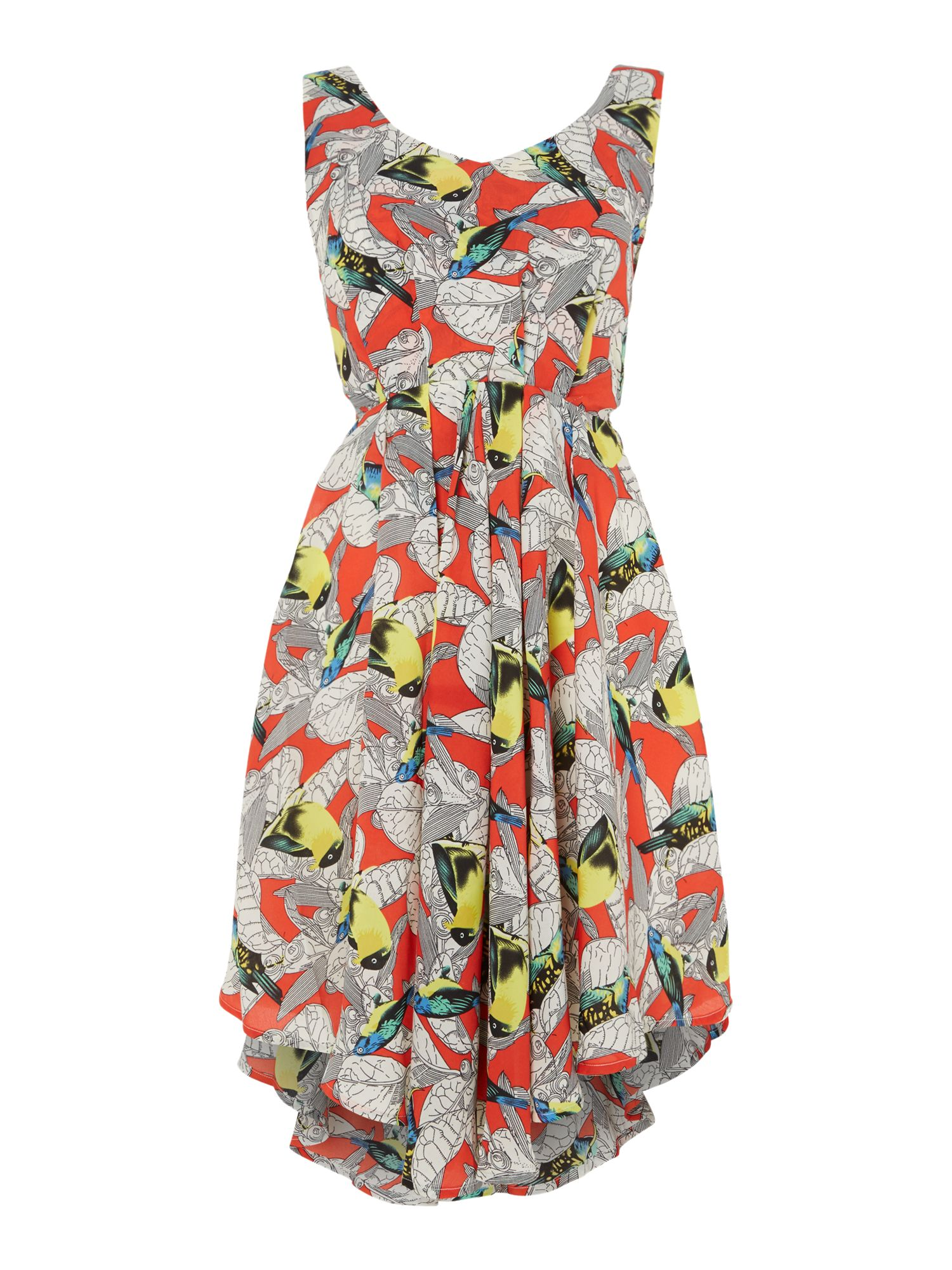 Bow back printed dress